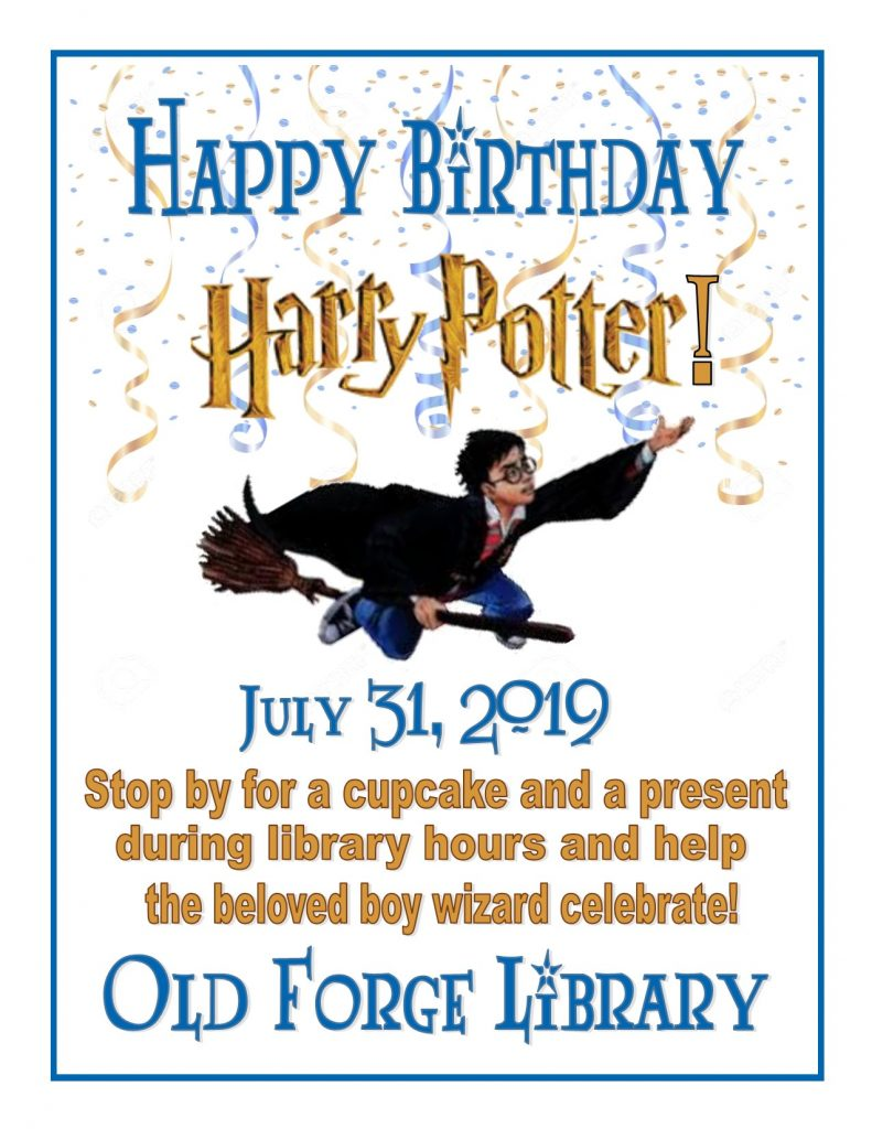 Happy Birthday Harry Potter! Stop by for a cupcake and present!