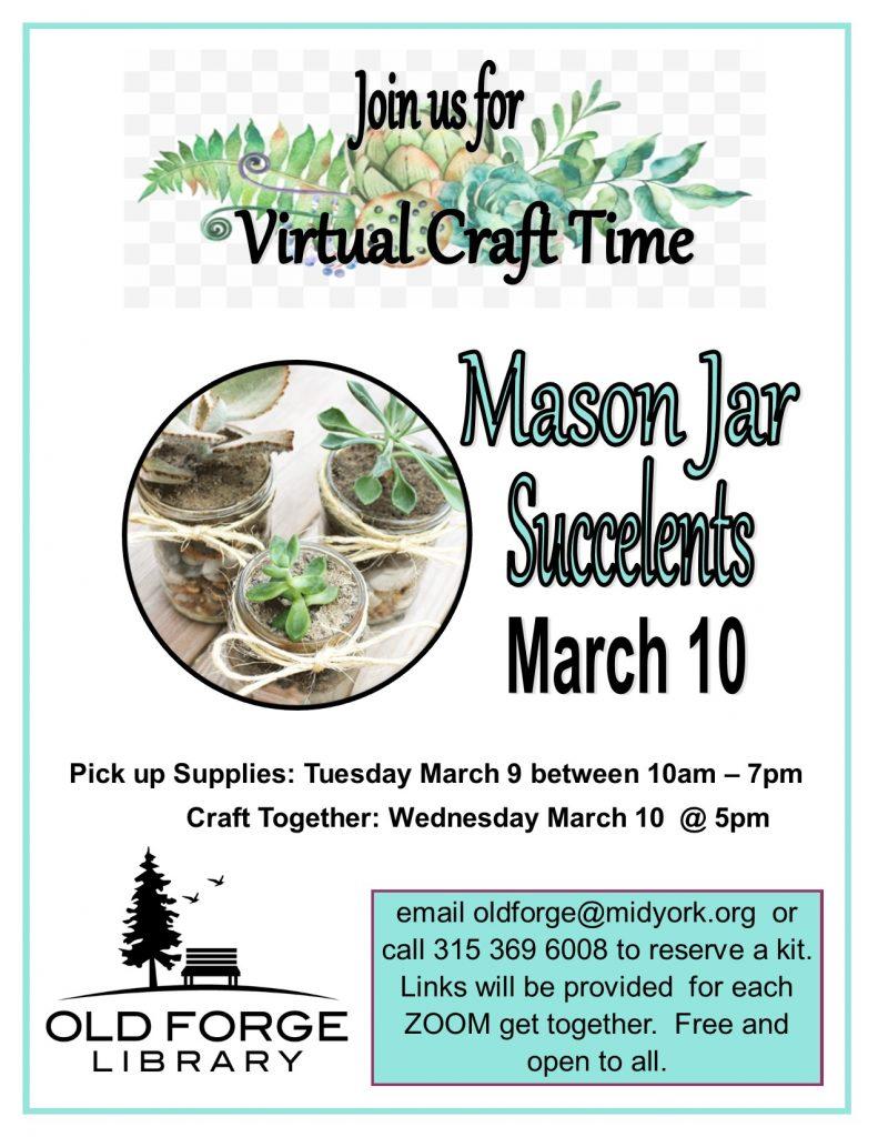 Virtual Craft Get Together ~ Mason Jar Succulents